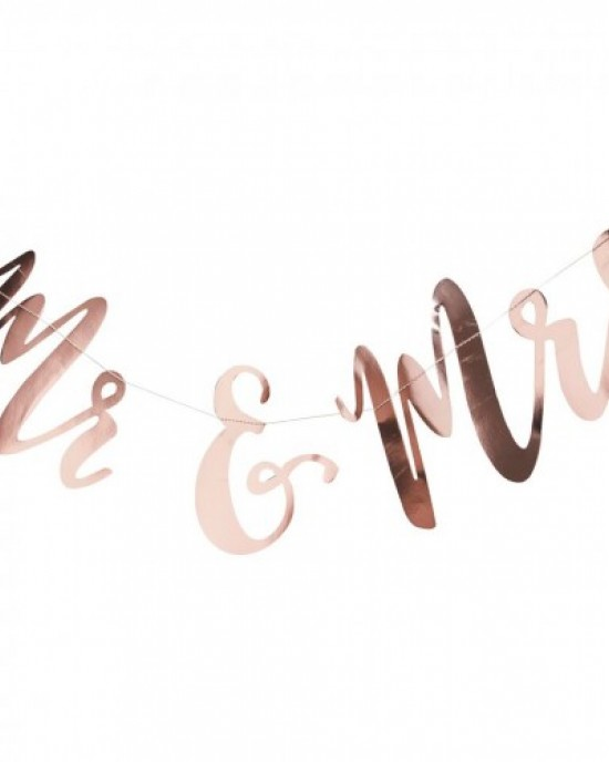 'Mr & Mrs' Rose Gold Bunting