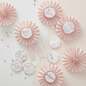 Pink & Rose Gold 'Team Bride' Badges
