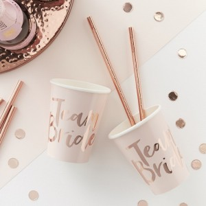 Pink & Rose Gold 'Team Bride' Paper Cups