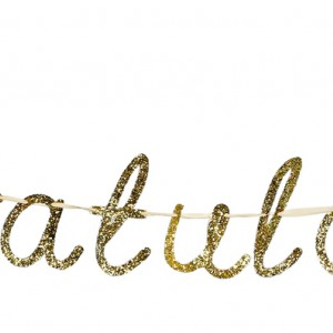 'Congratulations' Gold Glittered Garland