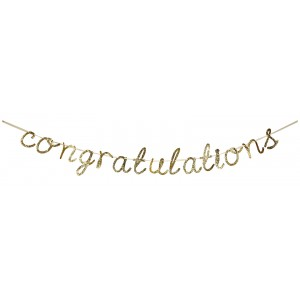 Congratulations - Gold Glittered Garland
