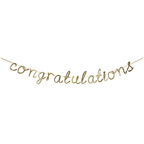 'Congratulations' Gold Glittered Garland