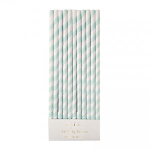 Mint Striped Paper Straws