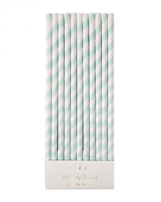 Mint Striped Straws