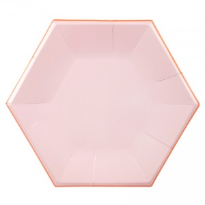 Hexagon Pink Pastel Paper Plates Large