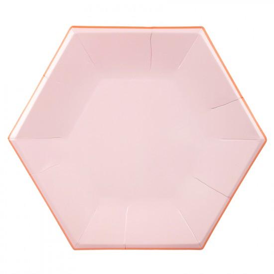 Hexagon Pink Pastel Paper Plates Large