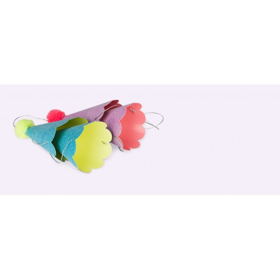 Glitter Party Hats with Pom Poms