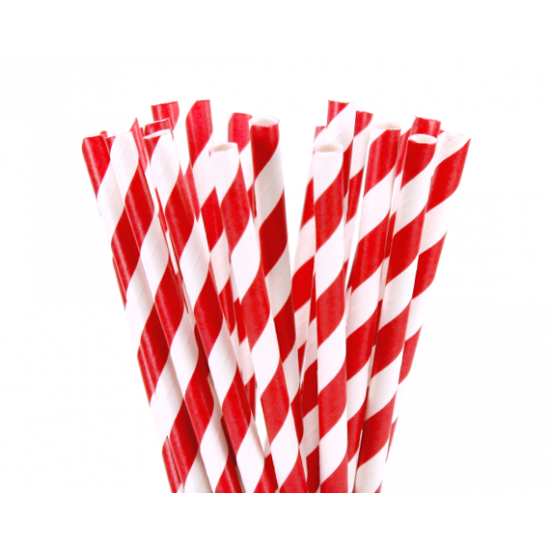 Red Striped Paper Straws
